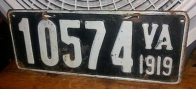 VIRGINIA - 1919 passenger license plate - SWEEET original condition