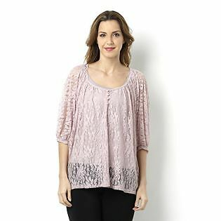 Annalee & Hope Beautiful Dusky Pink Lace Tunic With Camisole  BNWT M
