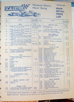 Scalextric Price List, 1964 for Catalogue 5.