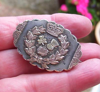 Antique Victorian Rose Gold Silver Photo Crown Rose Thistle Locket Pin Brooch