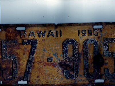 Hawaii License Plate, 1950, Fair Condition.