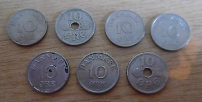 7 Denmark 10 Ore Coins 1925-1955 All Different