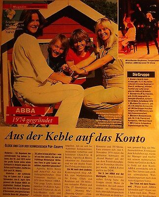 1 german clipping ABBA AGNETHA ANNAFRID BENNY BJORN N. SHIRTLESS GROUP BAND BOY