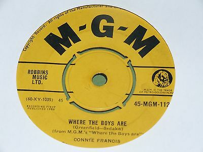 "Connie Francis - Where the Boys Are - 1960 - 7"" Single"
