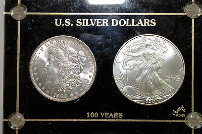 U.S. Silver Dollar 100 Years Set - 1900-O Morgan and 2000 Silver Eagle (NUM3177)
