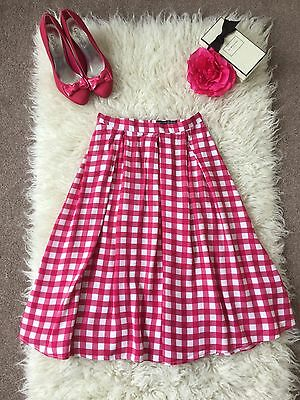 Gingham Raspberry Pink And White High Waisted 50s Style Skirt Size 8