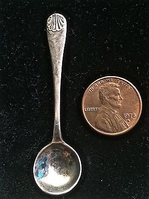 Tiny Silver Salt Spoon Classic Shell Pattern Stamped Silver on Back of Handle X!