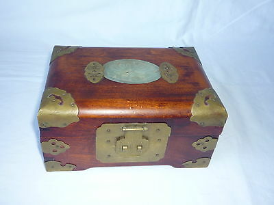 Old Chinese Wooden Carved Jade Brass Jewellery Trinket Music Box - Working