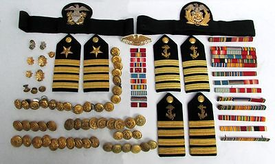 Large Wwii Navy & Merchant Marine Captain Boards Badges Buttons & Decorations