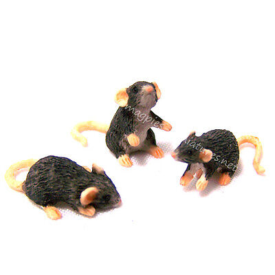 Dolls House 12th scale 3 Black Mice / Rats