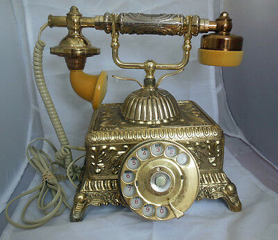 Vintage Old Victorian Rotary Heavy Ornate Brass Cradle Telephone Phone - Works