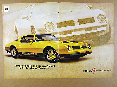 1976 Pontiac Firebird Formula yellow car color photo vintage print Ad