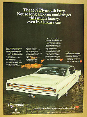 1968 Plymouth Sport Fury white car black top photo vintage print Ad