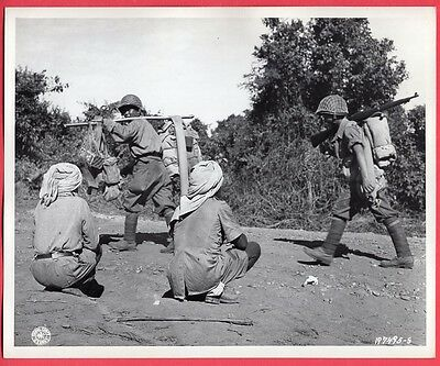 1944 Burma Kachins Watch Chinese Infantry Advance 8x10 Original News Photo