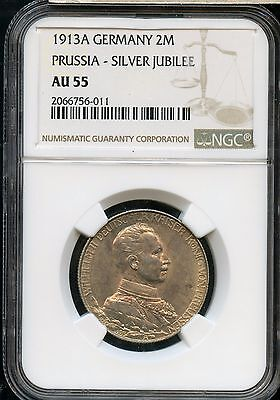 1913-A NGC AU 55 Germany Prussia-Silver Jubilee 2M Coin EM904