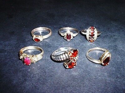 Lot Of 6 Gemstone Rings - 5 Garnet,  1 Ruby/ Diamond Accents ! .925 Silver- Nice