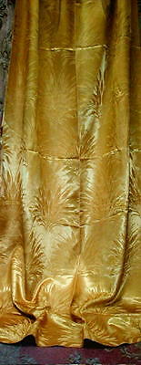 Vintage 1940s MCM Cattails or Wheat Sheaves GOLD Satin Brocade Drape 88 x 44 VG