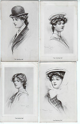 """Four Cards - Artist Drawn """"Types"""" of Edwardian Girl - Photographic Finish"""