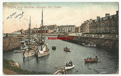 Ireland Co. Down Bangor Clifton from the Pier Vintage Postcard