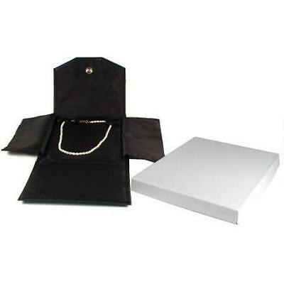 Jewelry Travel Folder Display Black Faux Leather Box