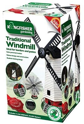 Solar Power Windmill Light Up With Wind Motion Sails Patio Pond Garden Ornament