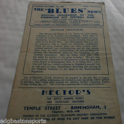 Birmingham City v A.C. Sparta (Prague Czechoslovakia) FRIENDLY October 7th 1946