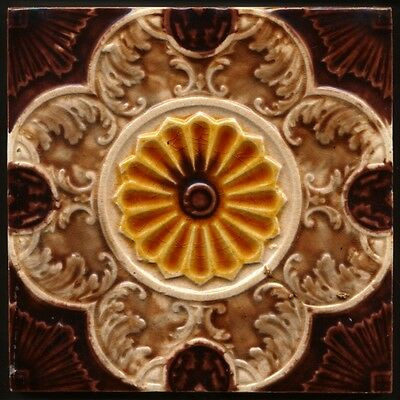 TH2964 Excellent Earth Tones Victoriana Embossed Majolica Tile c.1895