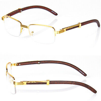 New Mens Womens Clear Lens Glasses Fashion Vintage Retro Designer Wood Gold 80s