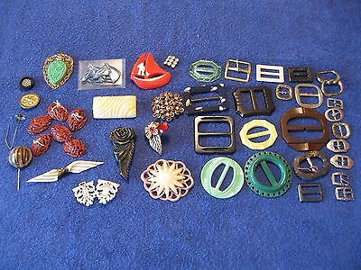 Vintage Mixed Lot Buckles, Buttons, Brooches FREE SHIP in US