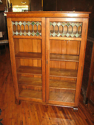 Mission Oak Larkin Co. 2 Door Bookcase Book Shelf Arts & Crafts Leaded Glass