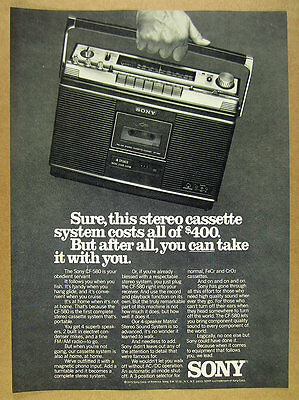 1976 Sony CF-580 Portable Stereo Cassette System photo vintage print Ad