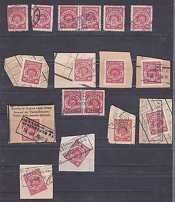 KO A Luxembourg Luxemburg beautiful cancellations on Lettre de Voiture 1920-1930