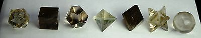 7 Pcs Smokey Crystal Quartz Platonic Solids Sacred Geometry Set 658