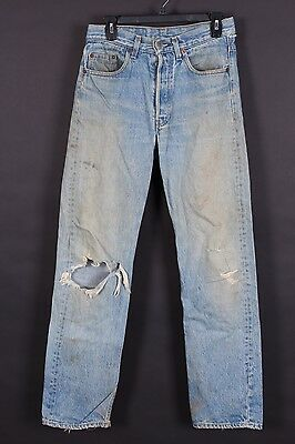 Vtg Levis 501 Button Fly Distressed Boyfriend Mom Jeans Usa Size 29-32