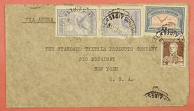 1932 Argentina Multi Franked Airmail Cover To Usa