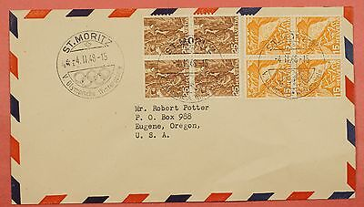 1948 Switzerland St Moritz Olympics Special Cancel Cover To Usa