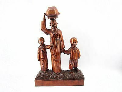 Vintage 16' Detailed Smiling Chinese Carved Wood Statue Figurines