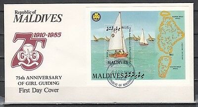 Maldives, Scott cat. 1245. Girl Scout Anniversary s/sheet. First day cover.
