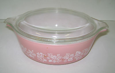 Vintage Pink Pyrex Gooseberry Casserole Dish W/lid 471 1 Pint Used But Nice