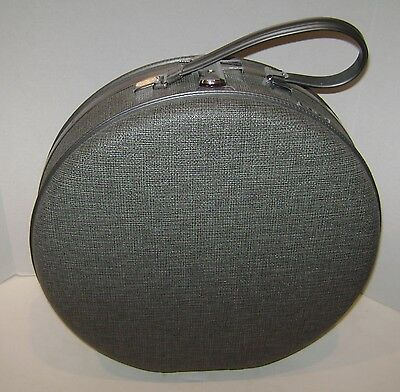 "Vintage Round American Tourister Gray Hat Box Train Case Hard Luggage 16"" Nice"