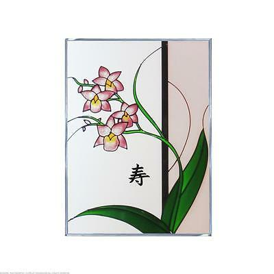 Asian Style Orchid Right with Words Long Life Painted Glass Panel W-316