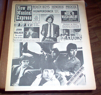 NME New Musical Express Magazine 1967 Jimi Hendrix Beach Boys Beatles Supremes