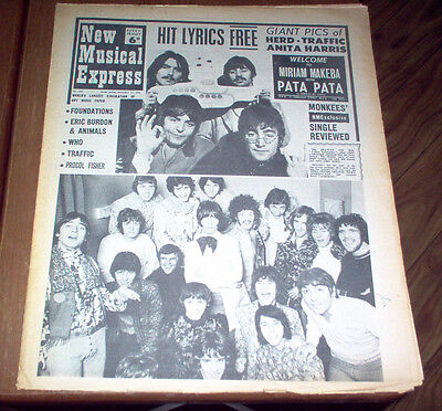 NME New Musical Express Magazine 1967 The Beatles The Who Traffic Cream Animals