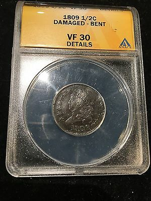 1809 1/2 Cent Anacs Very Fine 30 Damaged Bent, Chocolate Brown