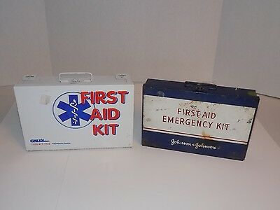 Two Metal First Aid & Emergency Kit Boxes-Empty-Johnson & Johnson Gall's
