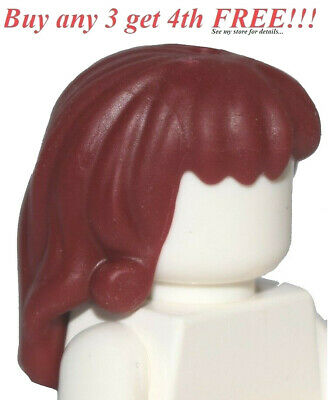 ☀️NEW Lego Minifig Hair Female Girl LONG DARK RED Friends Short Braid
