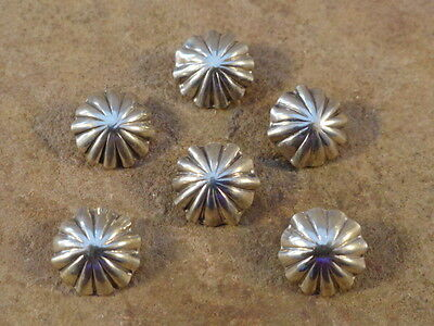 Six Small Beautiful Navajo Hand Made Sterling Silver Buttons