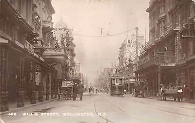 WELLINGTON, NEW ZEALAND, WILLIS STREET, TROLLEY, REAL PHOTO PC, c. 1910-20