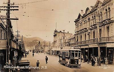 WELLINGTON, NEW ZEALAND, RIDDIFORD STREET, TROLLEY, REAL PHOTO PC, c. 1910-20