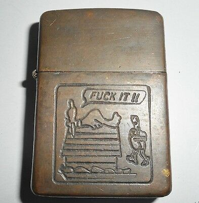 SNOOPY 1969 - RARE ORIGINAL ZIPPO LIGHTER - Going to Heaven - VIETNAM WAR - 9191